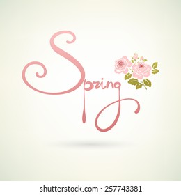 Spring word and flowers. Vector illustration.