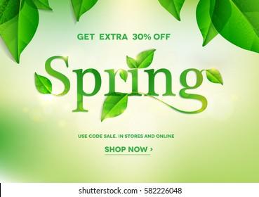 Spring word on natural green background.Spring sale.Vector illustration EPS10