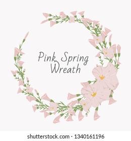 Spring wreath of bindweed design