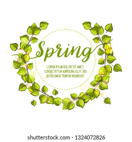 Spring wreath with green fresh birch leafs. Hand drawn lime ink style illustration. Spring doodle.