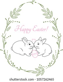Spring wreath with two cute rabbits. Vintage design for Easter card. Vector