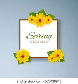 Spring yellow flowers with green leaves vector background. EPS10