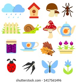 Spring-Autumn Icons Set, Natural Mini Illustrations. Household, Farm, Harvesting. Caring for animals. Seasonal Species of the Fauna and Flora Representatives.
