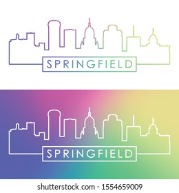 Springfield skyline. Colorful linear style. Editable vector file.