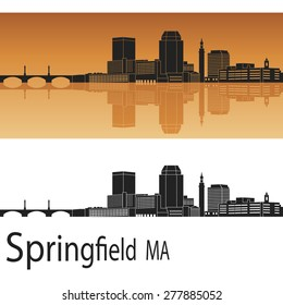 Springfield skyline in orange background in editable vector file