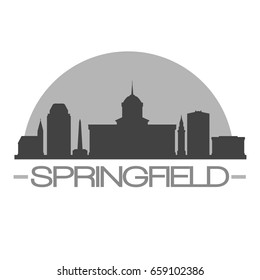 Springfield Skyline Silhouette Skyline Stamp Vector City Design