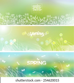Spring's logo on blurred background. Bright banners set.