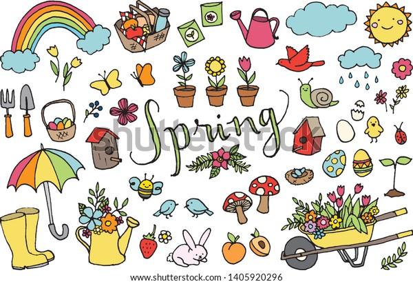 Springtime Clipart Spring Season Gardening Floral Stock ...