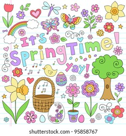 Springtime Easter Notebook Doodles Vector Design Elements Set with Rainbow, Tree, Butterflies, and Daffodil on Lined Sketchbook Paper Background