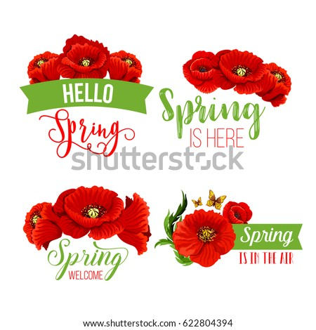 Springtime quotes poppy flowers design green stock vector royalty springtime quotes and poppy flowers design with green ribbons vector greeting templates for welcome spring mightylinksfo
