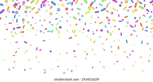 Sprinkle with grains of desserts. Abstract pattern with realistic colorful sweet grains on white background. Design for holiday designs, party, birthday, invitation. Vector 3d sweet confetti