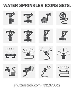 Sprinkler icon or irrigation sprinkler. Consist of sprinkler head, water spray, faucet, hose, tube. Part of automatic irrigation system for watering lawn, field, grass in garden, seed and crop in farm