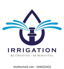 Sprinkler Irrigation Logo, Irrigation Logo Vector