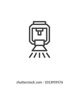 Sprinkler line icon, outline vector sign, linear style pictogram isolated on white. Fire extinguishing system symbol, logo illustration. Editable stroke