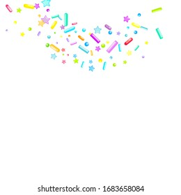 Sprinkles grainy. Cupcake donuts, dessert, sugar, bakery background. Sweet confetti on white chocolate glaze background. Vector Illustration sprinkles holiday designs, party, birthday, invitation.