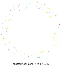 Sprinkles grainy. Sweet confetti on white chocolate glaze background. Cupcake, donuts, dessert, sugar, bakery background. Vector Illustration sprinkles grainy holiday, party, birthday,  invitation.
