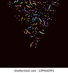 Sprinkles grainy. Sweet confetti on chocolate glaze background. Cupcake, donuts, dessert, sugar, bakery background. Vector Illustration sprinkles grainy holiday, party, birthday, invitation.