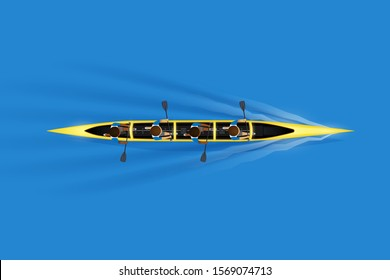 Sprint Four canoe and paddler on water surface. Top view of Equipment whitewater sprint canoeing in moving. Vector Illustration