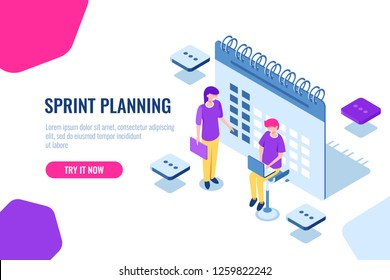 sprint planning isometric concept, calendar filling, important Affairs reminder, organization of tasks, cartoon vector methodology, team, icon, vector, collaboration,