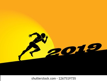 A Sprinter facing Year 2019 uphill challenges. Vector illustration.