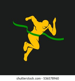 Sprinter and finish tape. Sports vector silhouette of the winner on a black background.