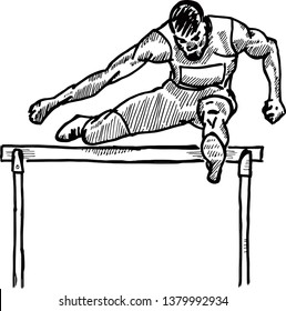 A sprinter leaping over a hurdle in a hurdle race. Hand drawn vector illustration.