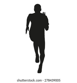 Sprinter silhouette. Vector running figure