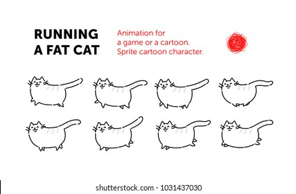 Sprite cartoon character of the cat. Set of different poses of the character in the vector. The looped animation of the cat. Animation for a game or a cartoon. A flat illustration on an isolated.