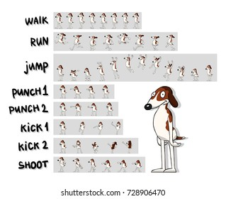 Sprite sheet of cartoon character. The cartoon dog. Action pack:  walk, run, jump, punches, kicks, shoot. Animation for game, cartoon or something else.