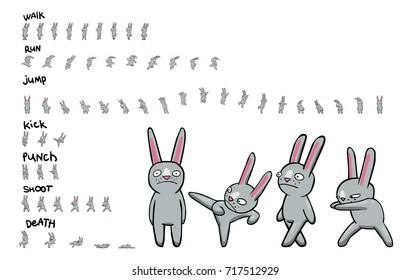 Foglio Sprite di personaggio dei cartoni animati. Pacchetto di azioni. Animazione loop di camminare e correre. Animazione per gioco o cartone animato.