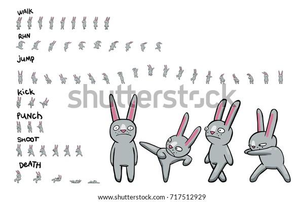 Sprite Sheet Cartoon Character Pack Actions Stock Vector