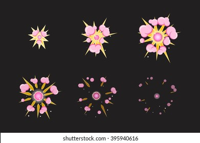 Sprite sheet for cartoon pink fog fire explosion, mobile, flash game effect animation. 8 frames on dark background