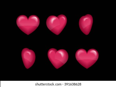Sprite sheet effect animation of a spinning puffy heart sparkling and rotating. For video effects, game development