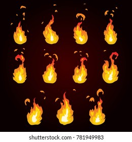 Sprite sheet of fire, torch. Animation for game or cartoon.