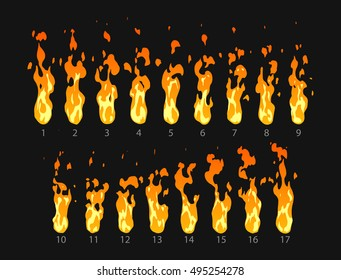 Sprite sheet of fire, torch, campfire, fire trap, fire pillar or something else. Animation for game or cartoon.