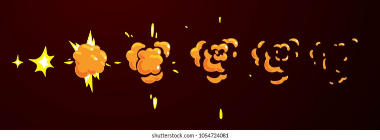 Sprite sheet of a flat explosion.Animation for cartoon or game.
