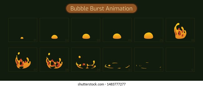 Sprite Sheet of a hot bubble burst of lava. Animation FX for cartoon or game. illustration-vector