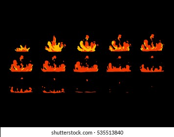 Sprite sheet of lava splashes. Animation for game or cartoon.