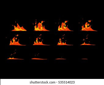 Sprite sheet of a lava wave strike or lava splashes. Animation for game or cartoon.