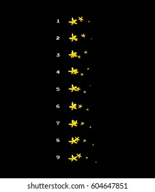 Sprite sheet of stars, star flow, magic attack, trail of stars after star magic spell. Loop animation for game or cartoon.