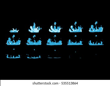 Sprite sheet of water splashes or a water boom. Animation for game or cartoon.