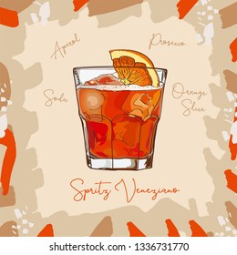 Spritz Veneziano New Era Drink classic cocktail illustration. Alcoholic bar drink hand drawn vector. Pop art