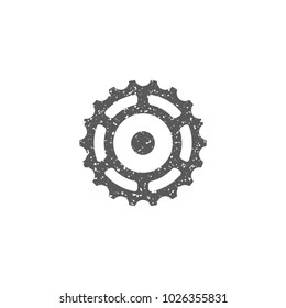 Sprocket icon in grunge texture. Vintage style vector illustration.