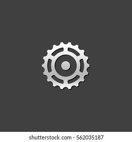 Sprocket icon in metallic grey color style.