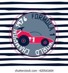 sprotscar on striped background, formula 1 world champion, T-shirt design for kids vector illustration