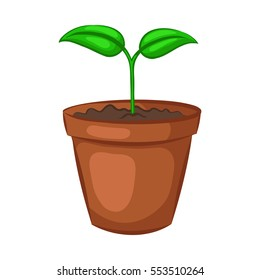 Sprout in ceramic pot. Plant isolated on white background. Cartoon icon. Vector illustration.