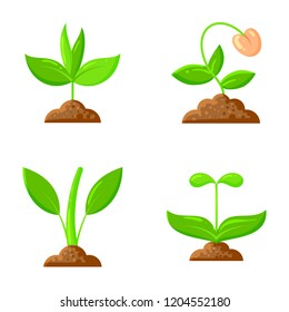 Sprout flat icons set. Web sign kit of sow seeds. Organic food icon collection includes plant, sapling, leaves, grass. Agriculture simple cartoon colorful symbol isolated on white vector Illustration