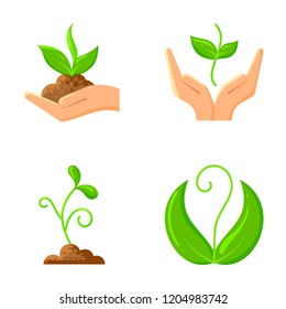 Sprout flat icons set. Web sign kit of sow seeds. Protection of Nature icon collection includes plant, hands, sapling. Agriculture simple cartoon colorful symbol isolated on white vector Illustration