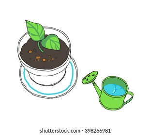 Sprout in a flowerpot and watering can. Green leaves. Vector hand-drawn sketch.
