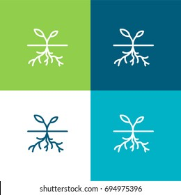 Sprout green and blue material color minimal icon or logo design